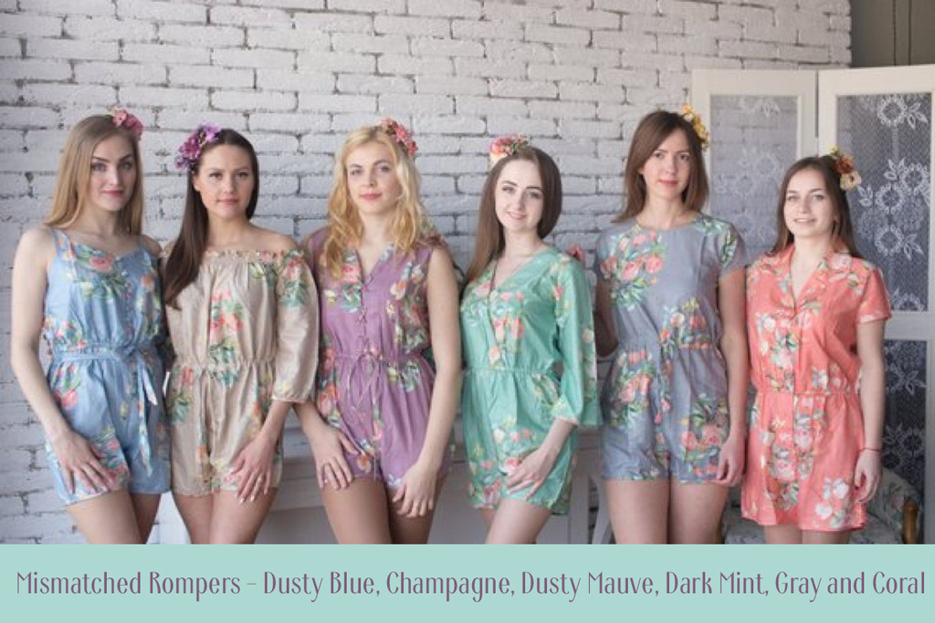Plum and Dusty Mauve Kimono Style Bridesmaids Rompers in Dreamy Angel Song Pattern