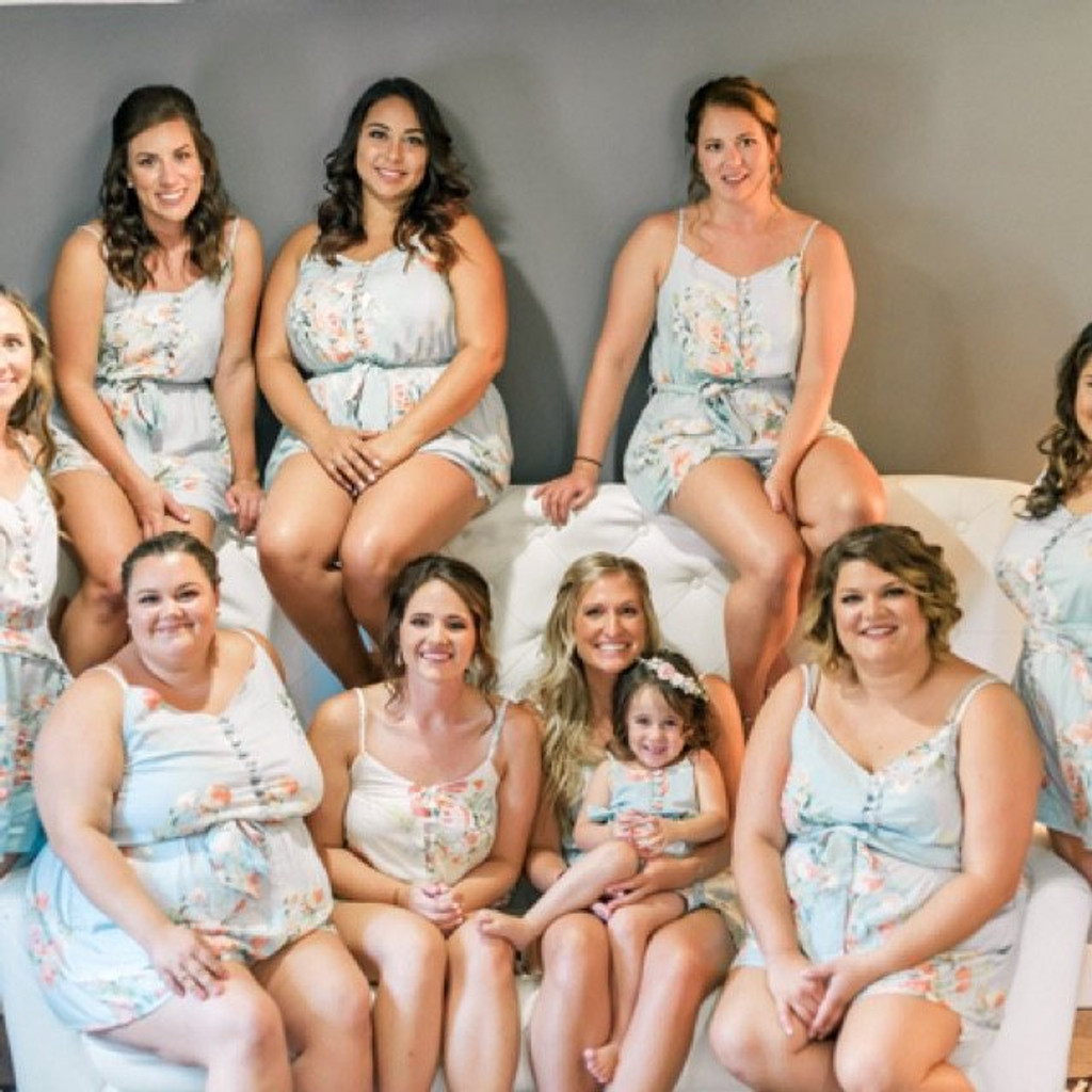 Dusty Blue and Blueberry Blue Mismatched Styles Bridesmaids Rompers in Dreamy Angel Song Pattern