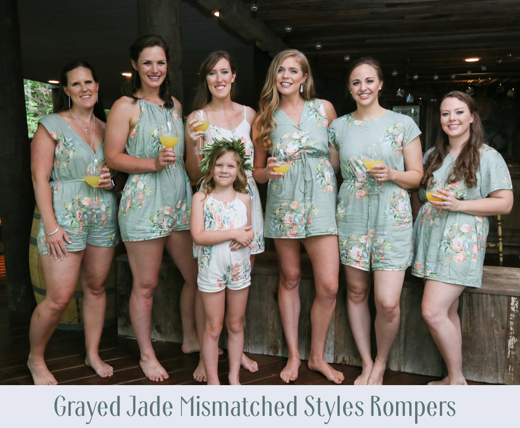 Dusty Rose Mismatched Styles Bridesmaids Rompers in Dreamy Angel Song Pattern