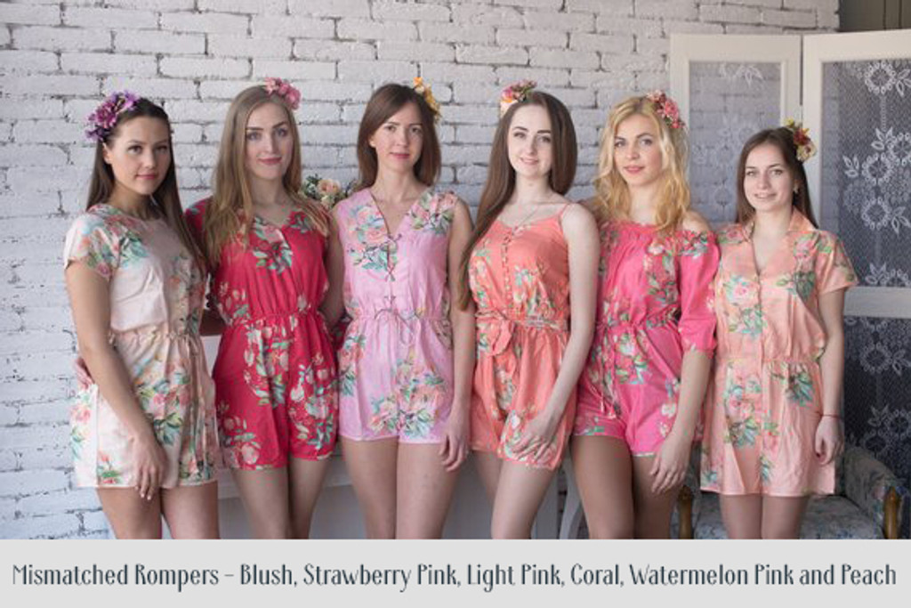 Copper, Teal and Blush Mismatched Styles Bridesmaids Rompers in Dreamy Angel Song Pattern