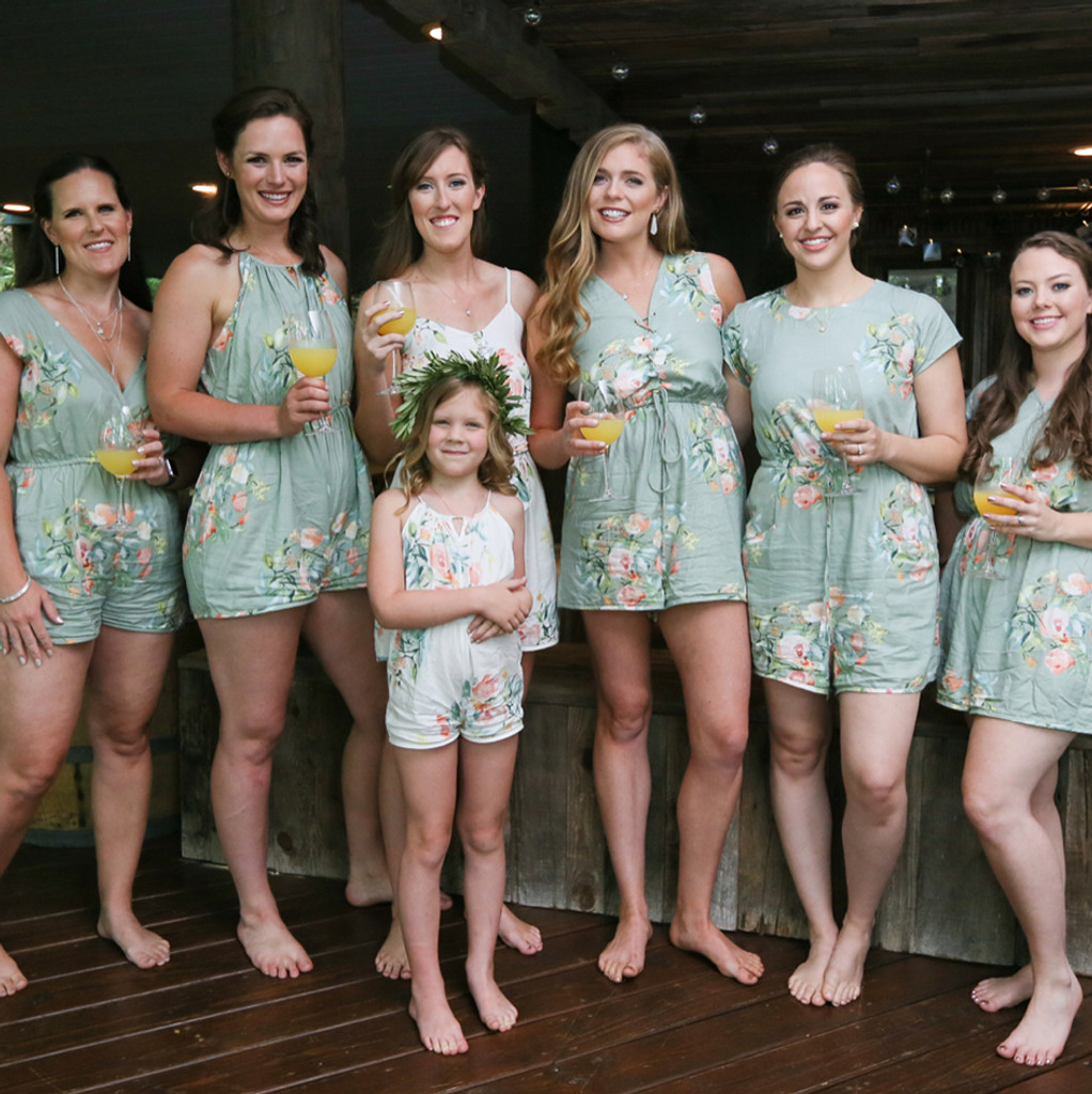 Grayed Jade Mismatched Styles Bridesmaids Rompers in Dreamy Angel Song Pattern
