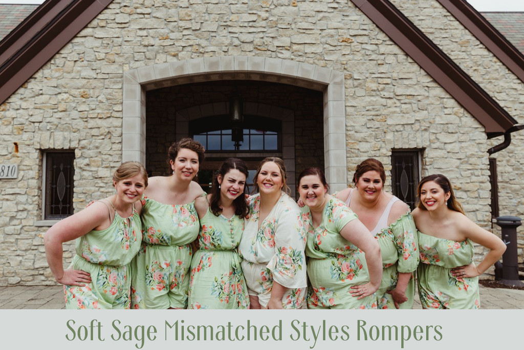 Mint Mismatched Styles Bridesmaids Rompers in Dreamy Angel Song Pattern