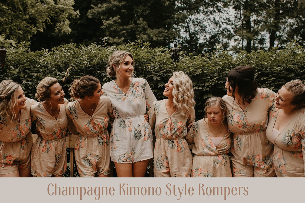 Blush Corset Style Bridesmaids Rompers in Dreamy Angel Song Pattern