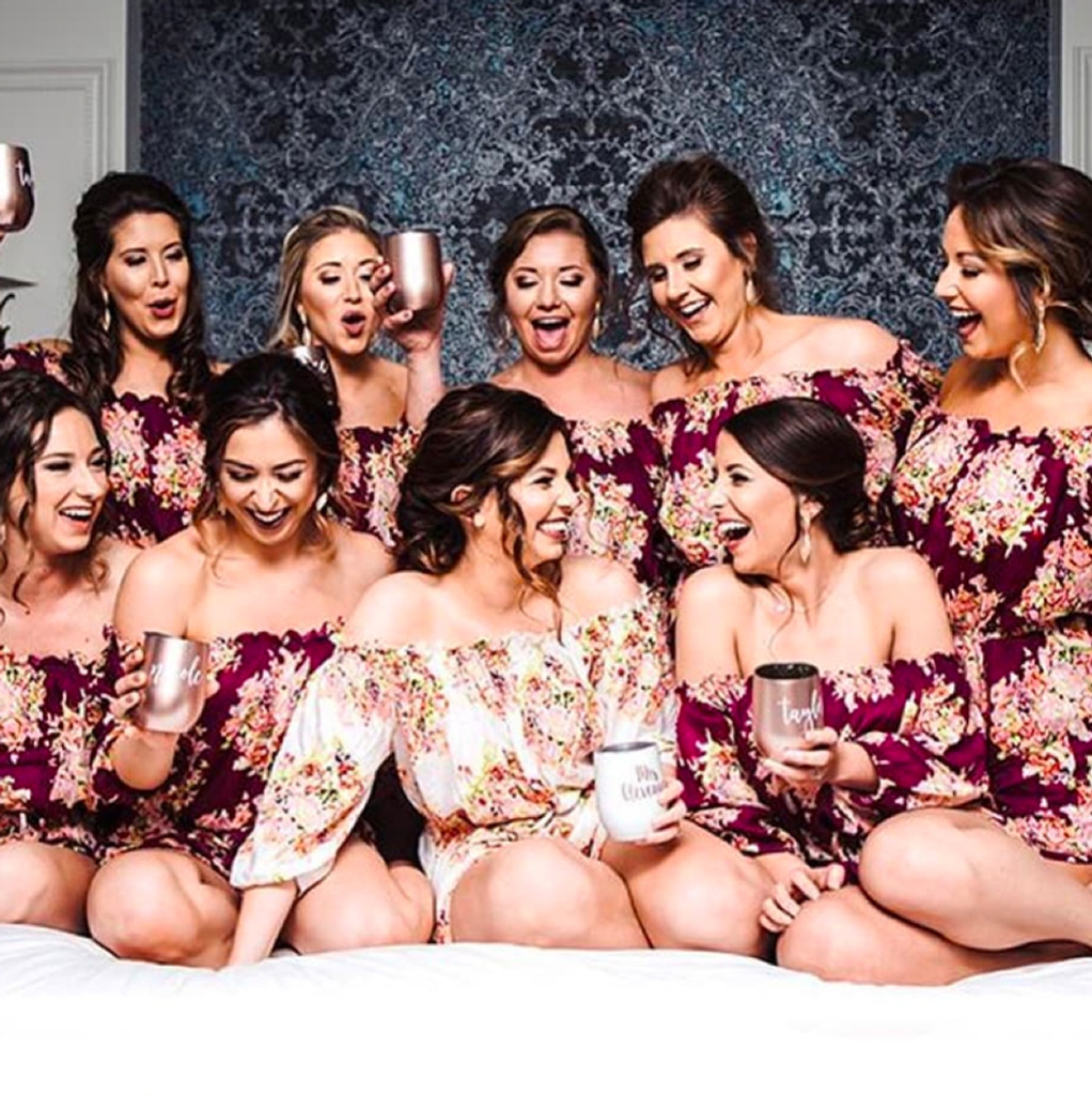 Eggplant Off the shoulder Style Bridesmaids Rompers in Floral Posy Pattern