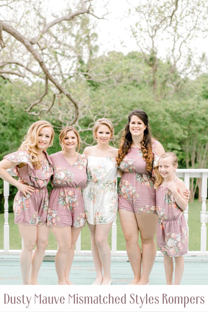 Dark Green Mismatched Styles Bridesmaids Rompers in Dreamy Angel Song Pattern