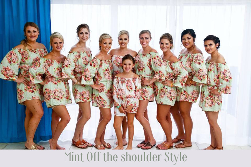 Burgundy Off the shoulder Style Bridesmaids Rompers in Floral Posy Pattern