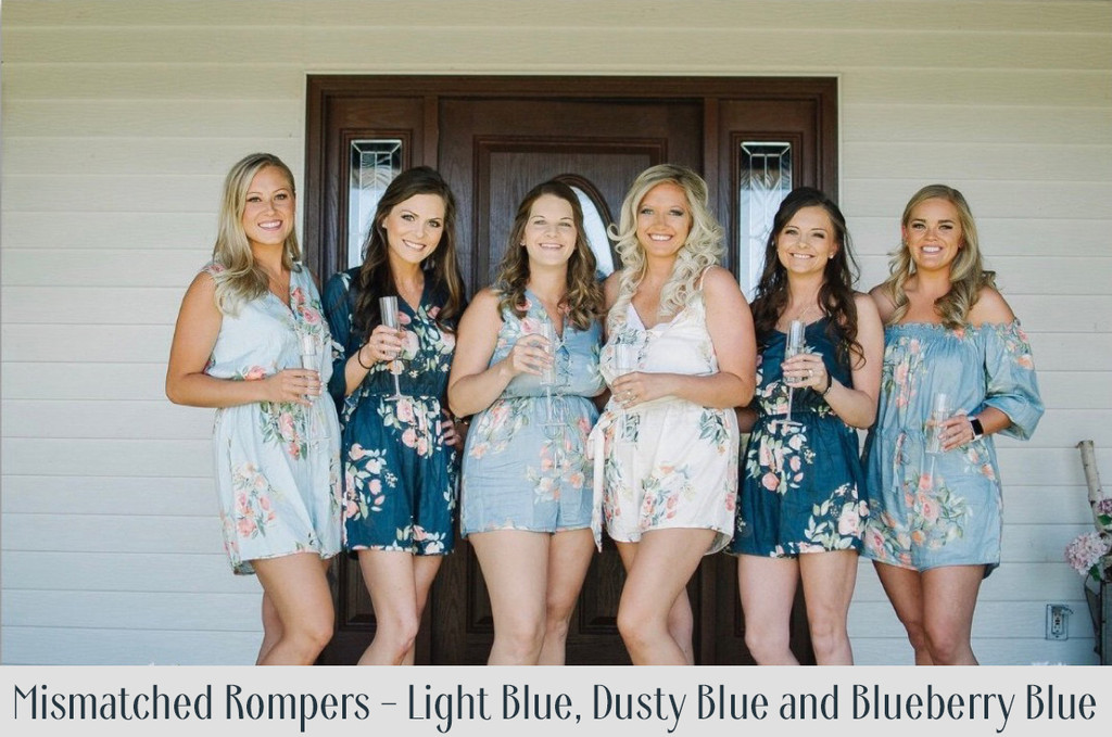 Gray Belted Slip Style Bridesmaids Rompers in Dreamy Angel Song Pattern