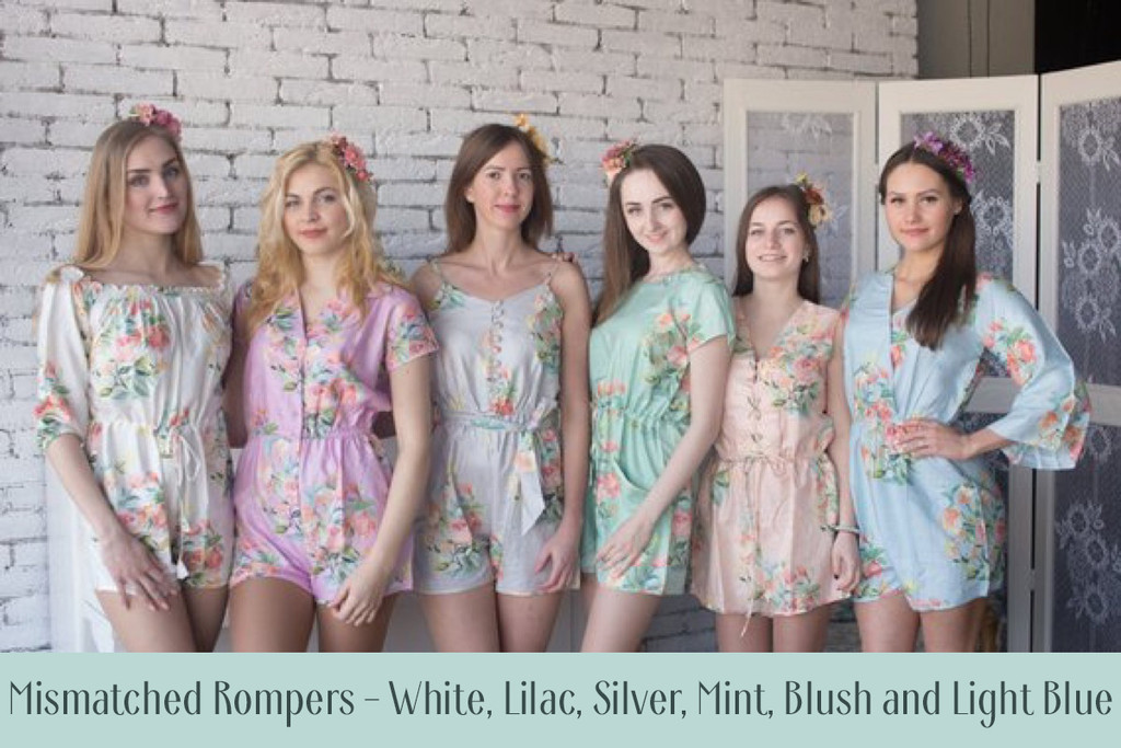 Silver Mismatched Styles Bridesmaids Rompers in Dreamy Angel Song Pattern