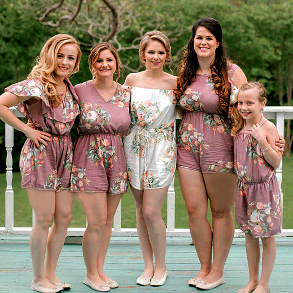 bride and bridesmaids romper sets