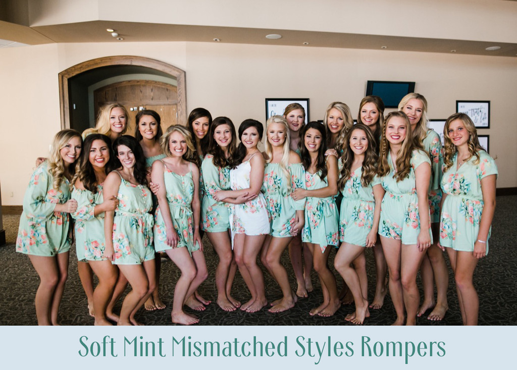 Dusty Mauve Mismatched Styles Bridesmaids Rompers in Dreamy Angel Song Pattern