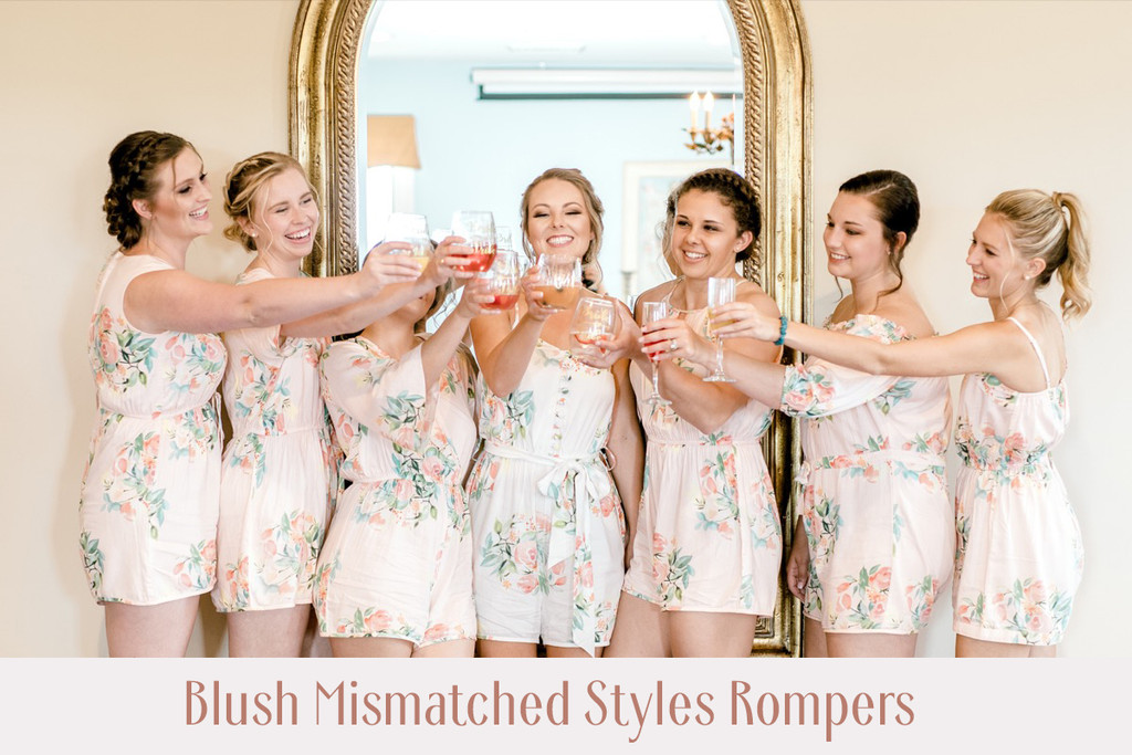 Blueberry Blue Off the shoulder Style Bridesmaids Rompers in Dreamy Angel Song Pattern
