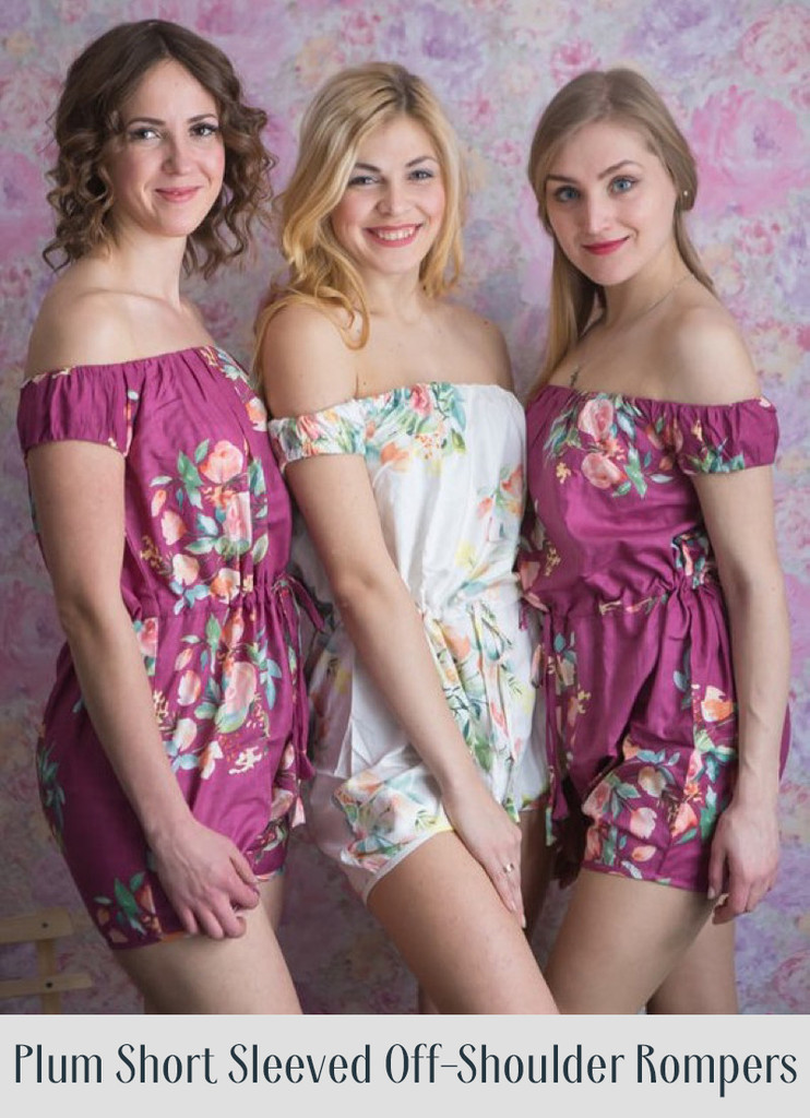Navy Blue Belted Slip Style Bridesmaids Rompers in Dreamy Angel Song Pattern