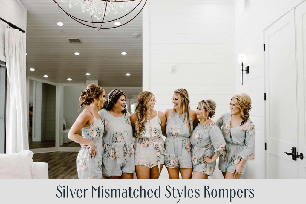 Light Blue Mismatched Styles Bridesmaids Rompers in Dreamy Angel Song Pattern