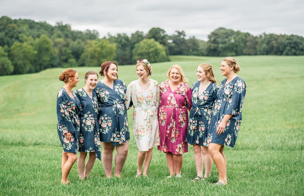 Bold Berry-Hued Wedding Color Palette - Blueberry Blue and Plum Set of Bridesmaids Robes