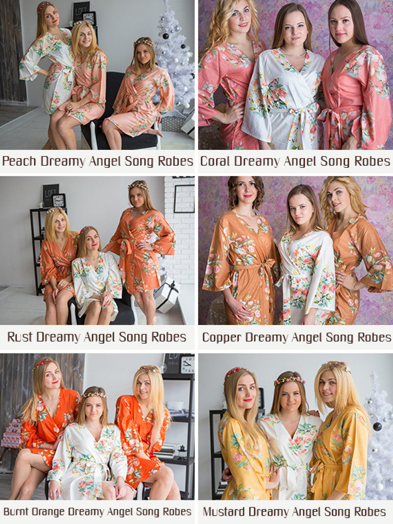 Dark Green Dreamy Angel Song Bridesmaids Robes Set
