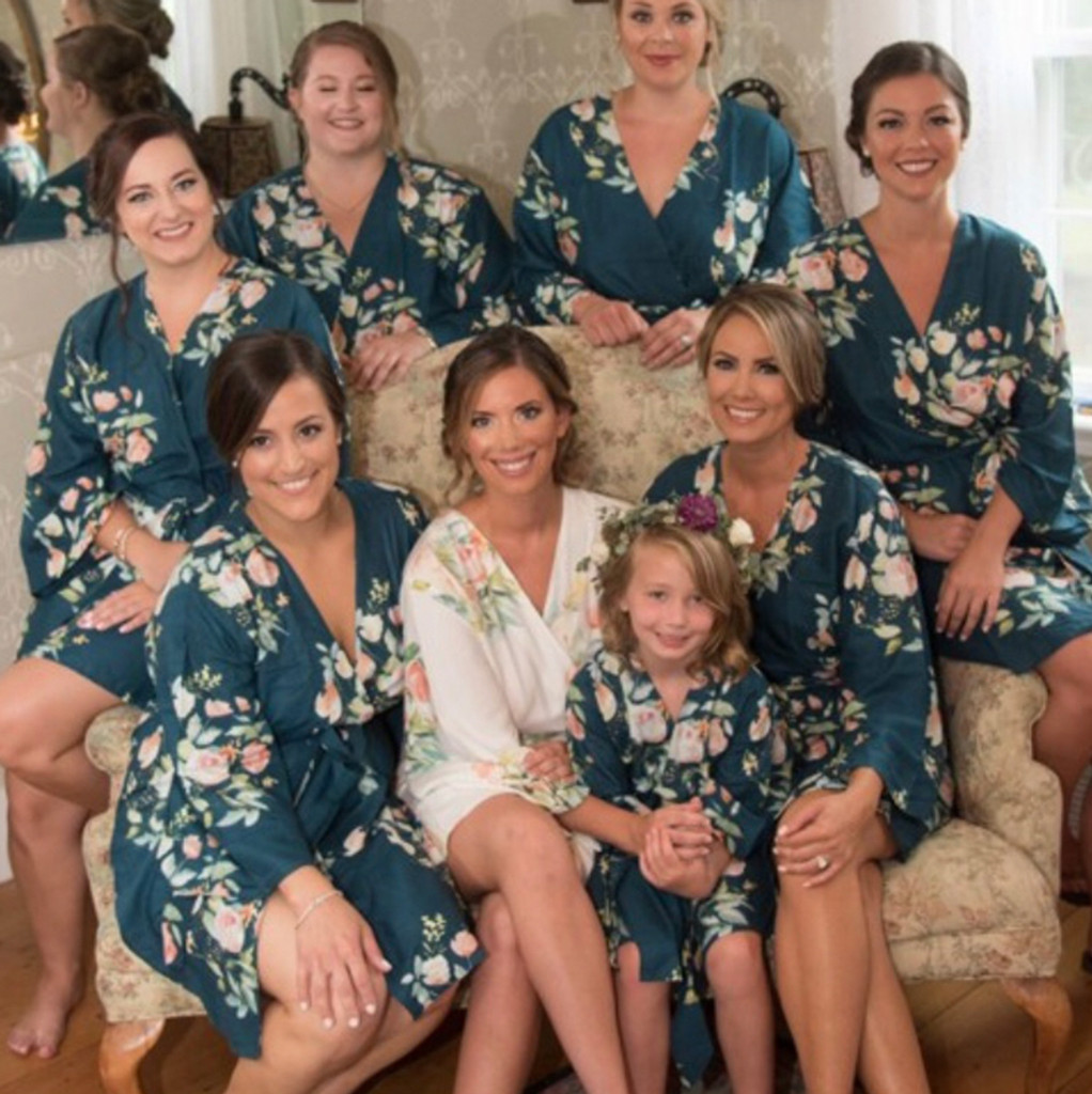 Dark Teal Blue Dreamy Angel Song Set of Bridesmaids Robes