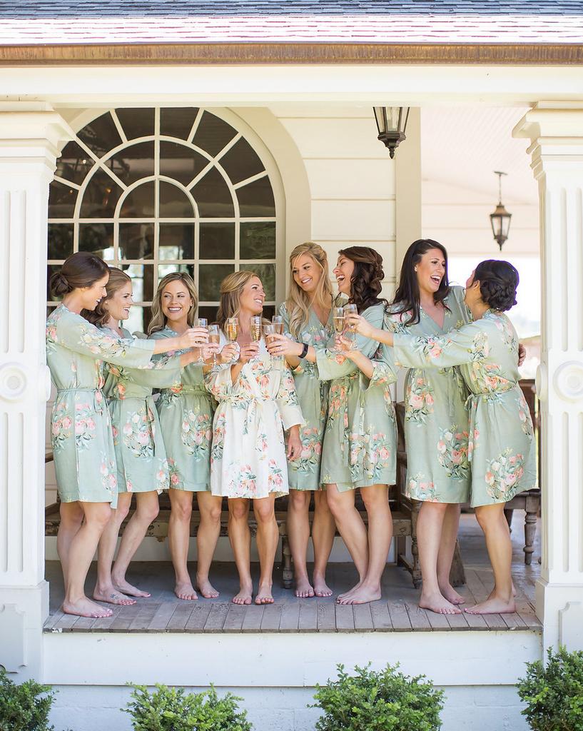 Grayed Jade Dreamy Angel Song Bridesmaids Robes Set