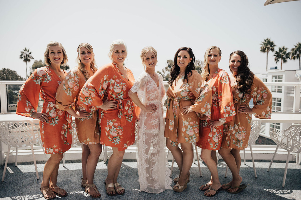 Metallic Wedding Color Palette - Rust and Copper Bridesmaids Robes Set