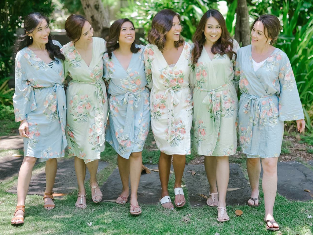 Mismatched Bridesmaids Robes Set- Dusty Blue and Sage Dreamy Angel Song Robes