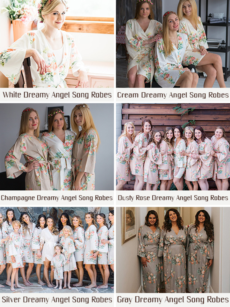 Mismatched Bridesmaids Robes Set - Gray and  Plum Dreamy Angel Song Robes