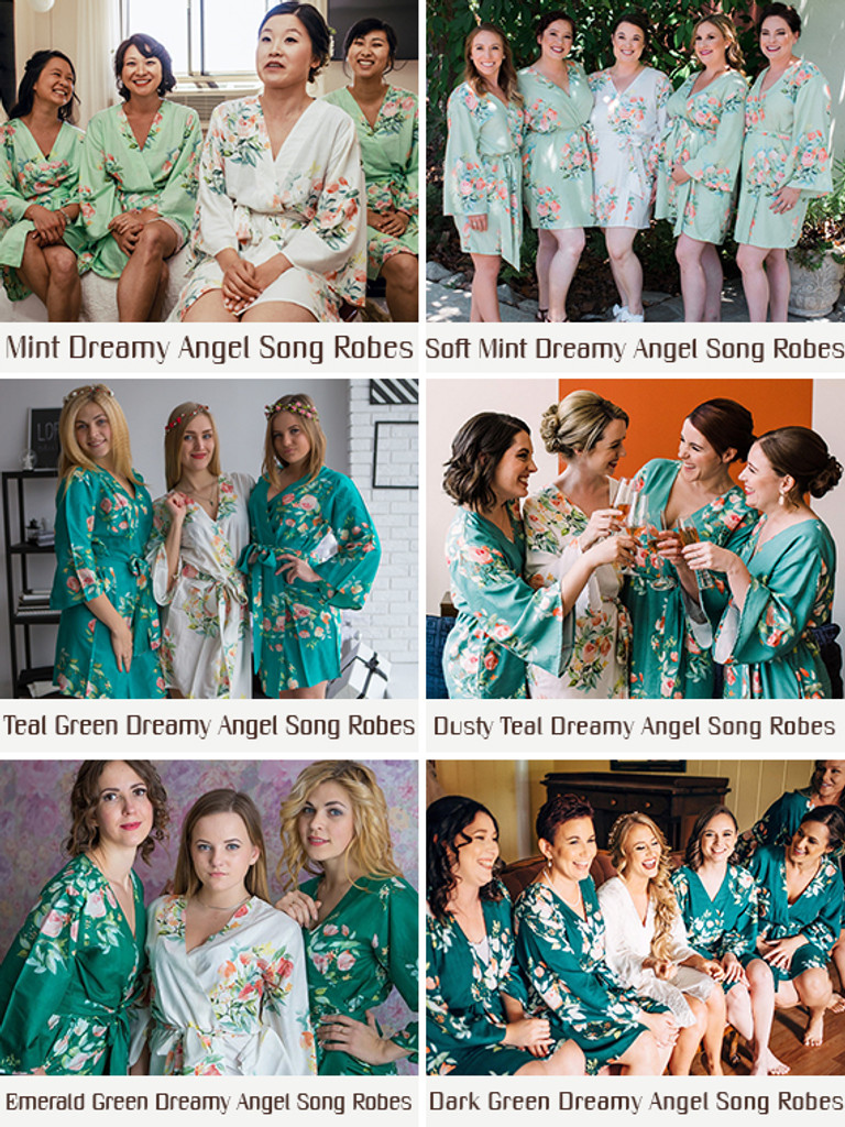 Shades of Green Wedding Color Palette - Soft Mint, Grayed Jade and Dark Green Set of Bridesmaids Robes