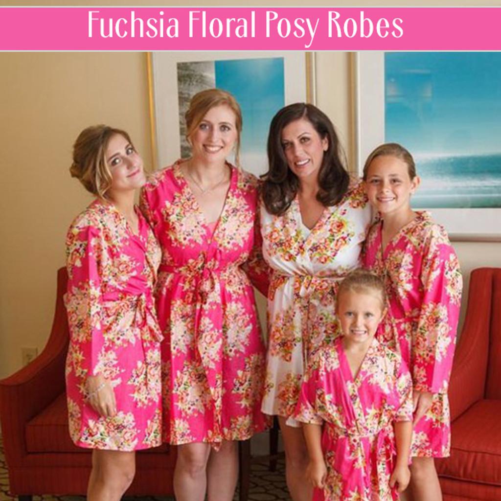 Fuchsia Floral Posy Robes