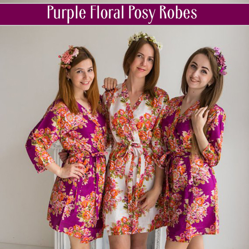 Purple Floral Posy Robes