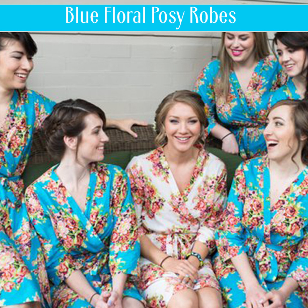 Set of 6 Bridesmaids Roes in Mint Floral Posy- Floral wedding Robes