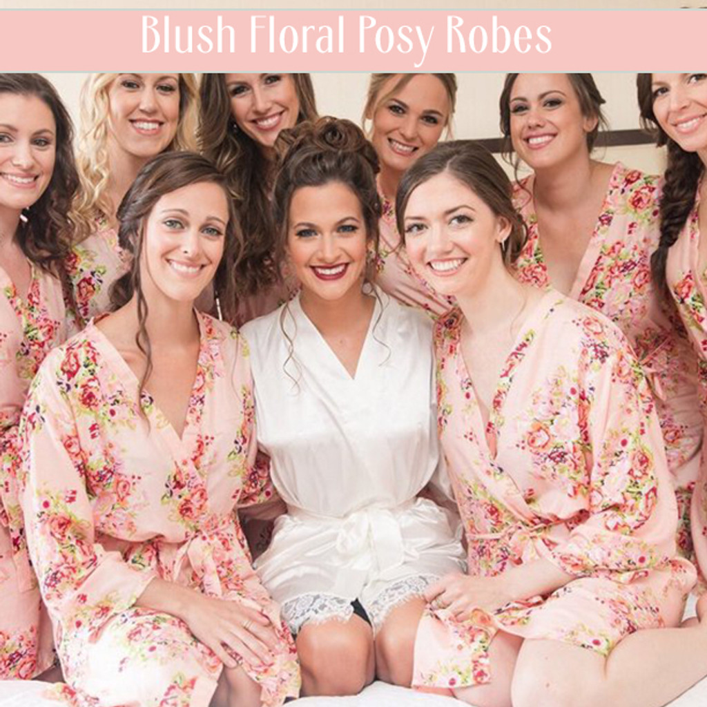 Set of 9 Bridesmaids Roes in Mint Floral Posy- Floral wedding Robes