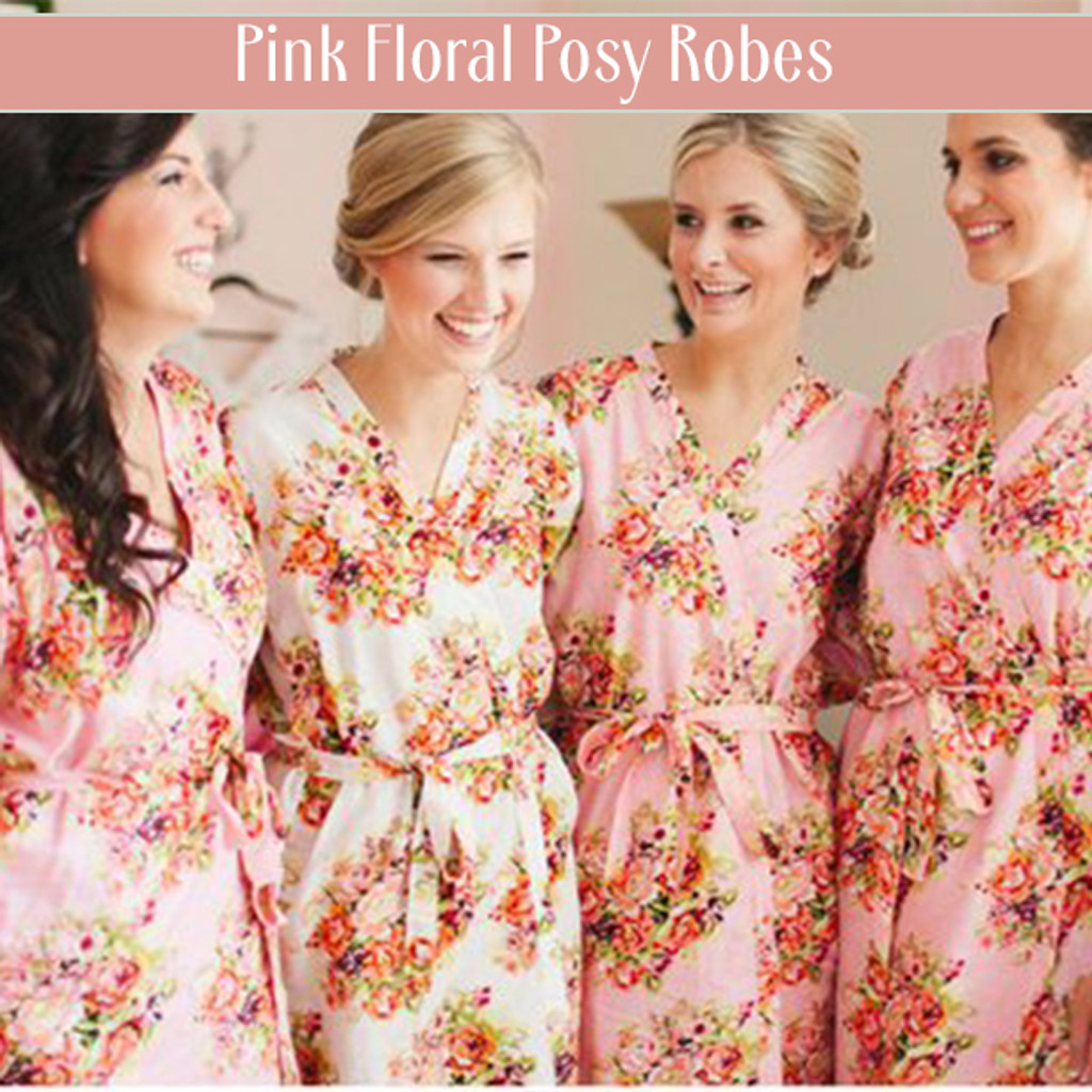 Pink Floral Posy Bridesmaids Robes Set