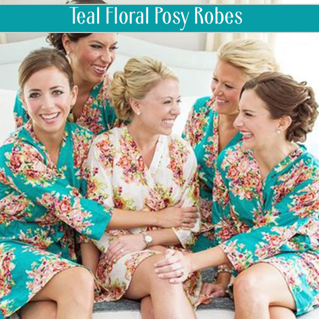 Set of 5 Bridesmaids Roes in Mint Floral Posy- Floral wedding Robes