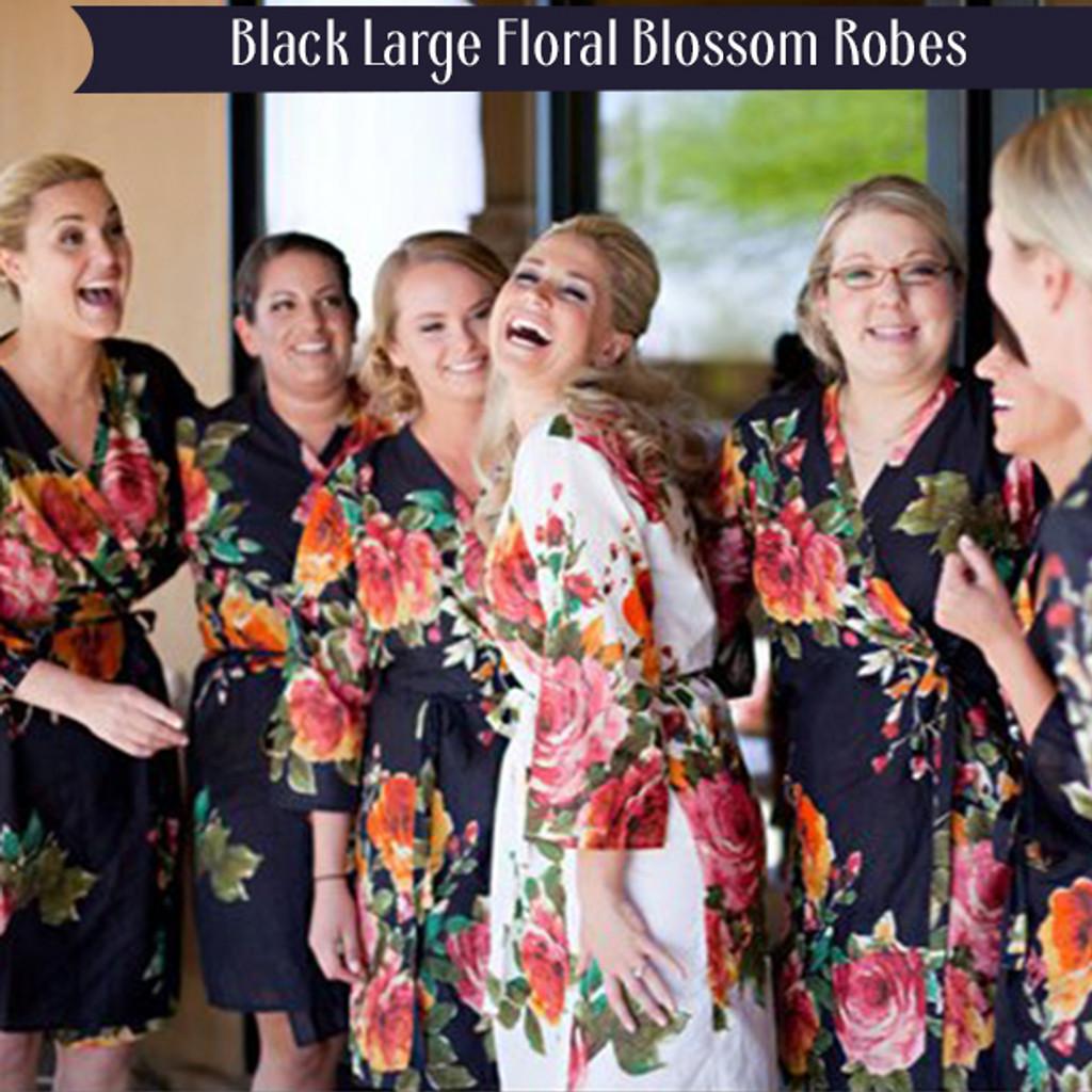 Black Large Floral Blossom Robes