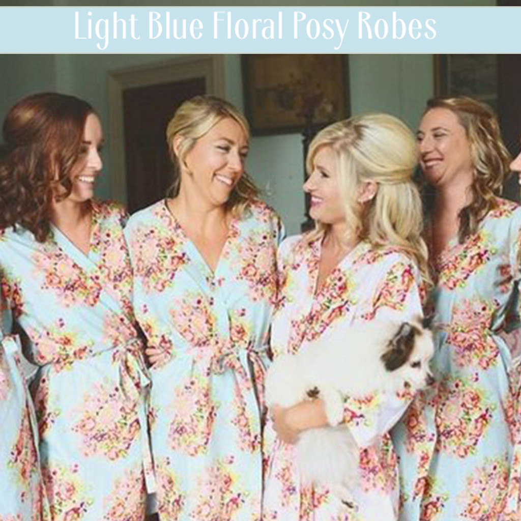 Set of 4 Bridesmaids Roes in Mint Floral Posy- Floral wedding Robes