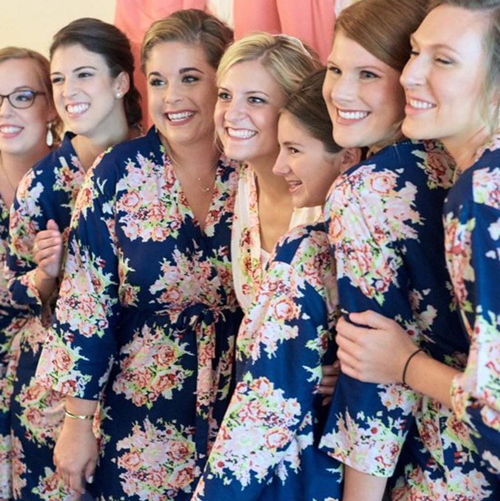 Dark Blue Floral Posy Bridesmaids Robes Set