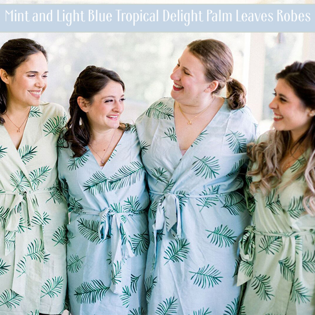 Blush Tropical Delight Palm Leaves Bridesmaids Robes Set