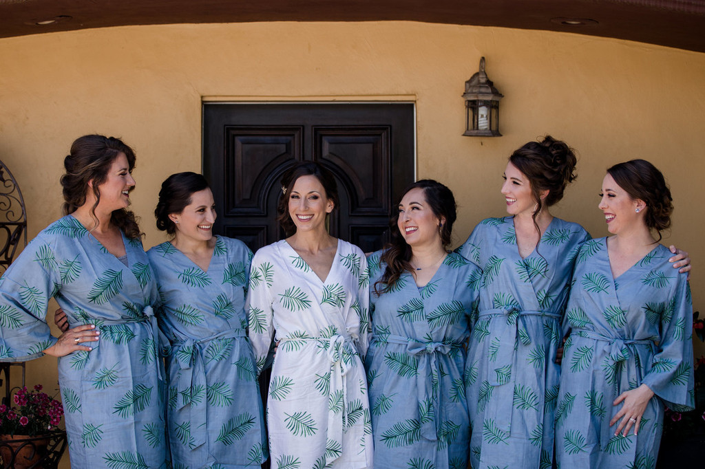 Dusty Blue Tropical Delight Palm Leaves Bridesmaids Robes Set