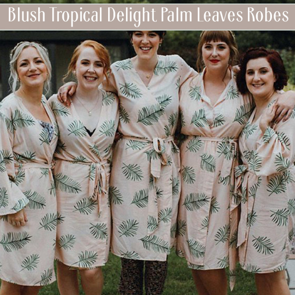 White Tropical Delight Palm Leaves Bridesmaids Robes Set