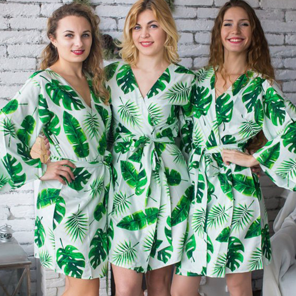 tropical leave print robes set