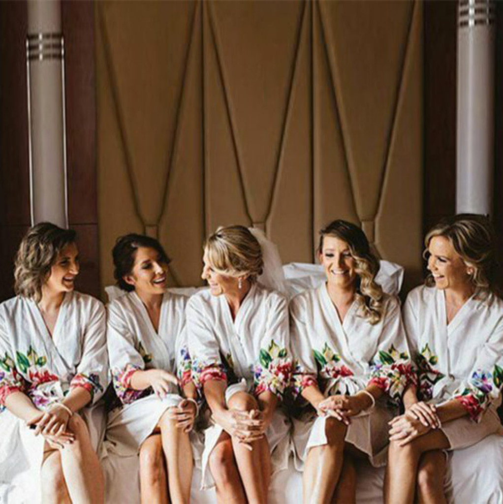 White One Long Flower Bridesmaids Robes Set