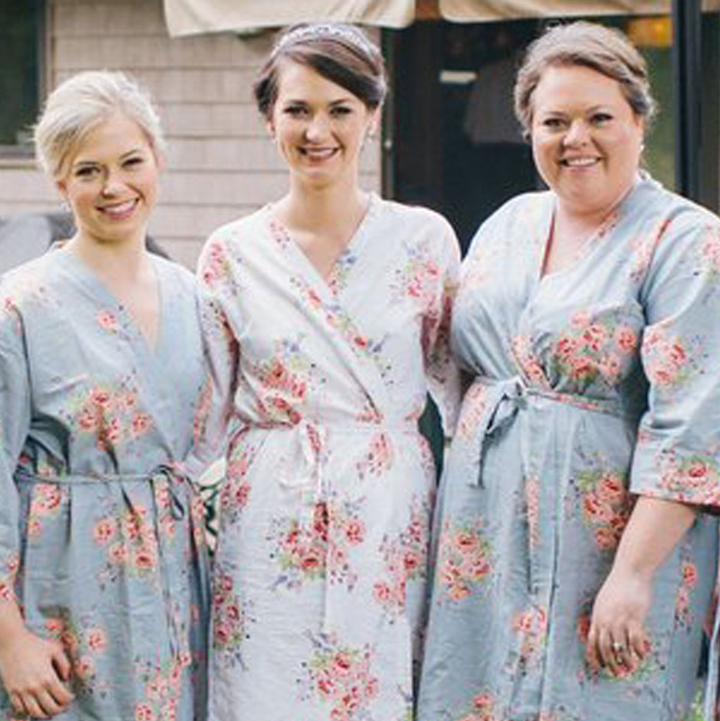 Silver Faded Flowers Bridesmaids Robes Set
