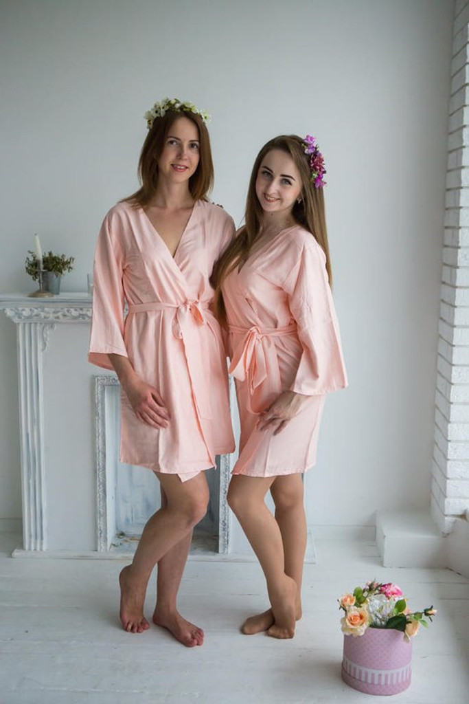 Blush Solid Bridesmaids Robes Set