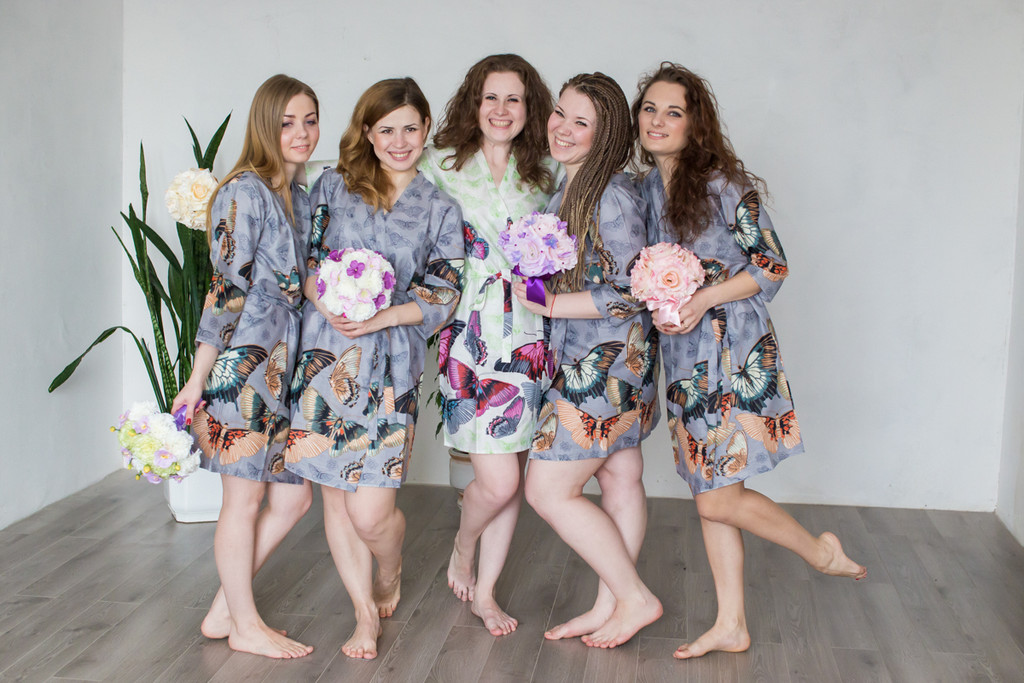 Gray All Over Butterflies Robes for bridesmaids | Getting Ready Bridal Robes