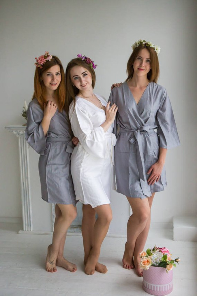 Gray Solid Set of Bridesmaids Robes
