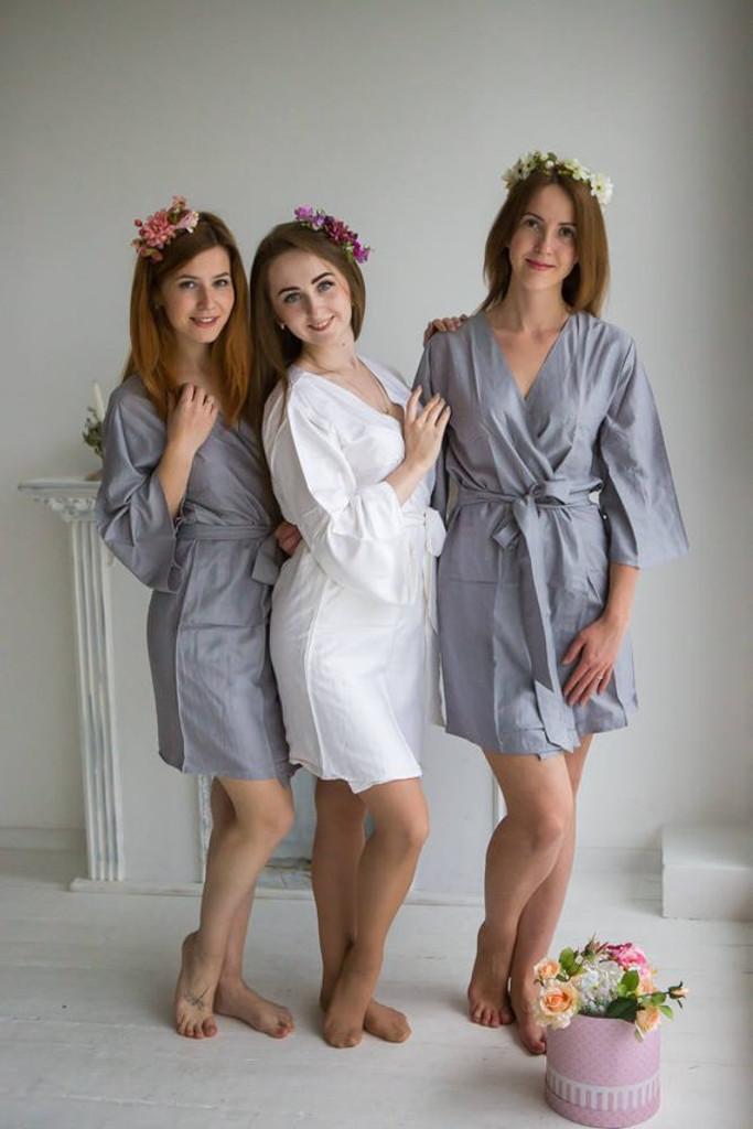 Gray Solid Set of Bridesmaids Robes