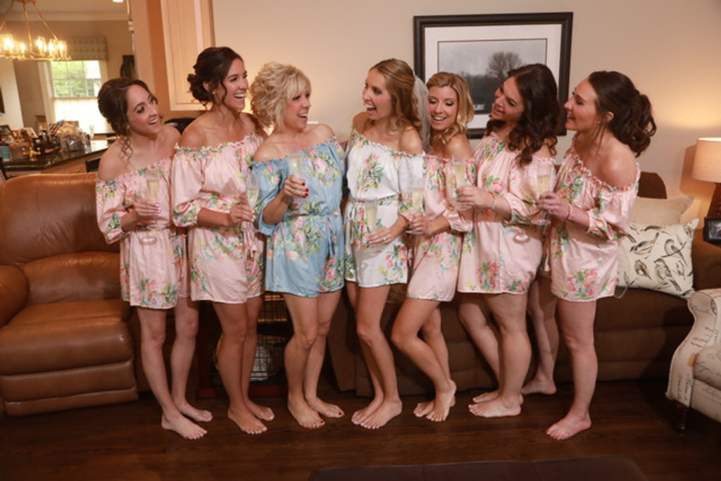 Blush and Dusty Blue Off the shoulder Style Dreamy Angel Song Bridesmaids Rompers Set