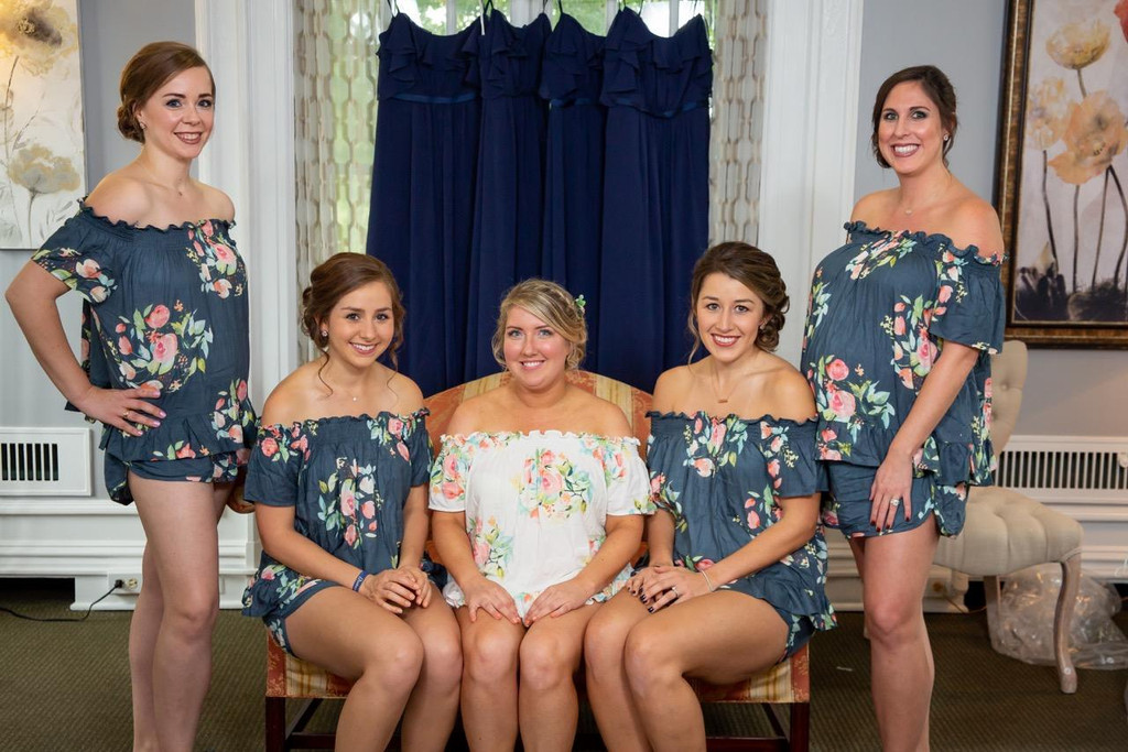 Blueberry Blue Off the Shoulder Style Dreamy Angel Song Bridesmaids PJ Set