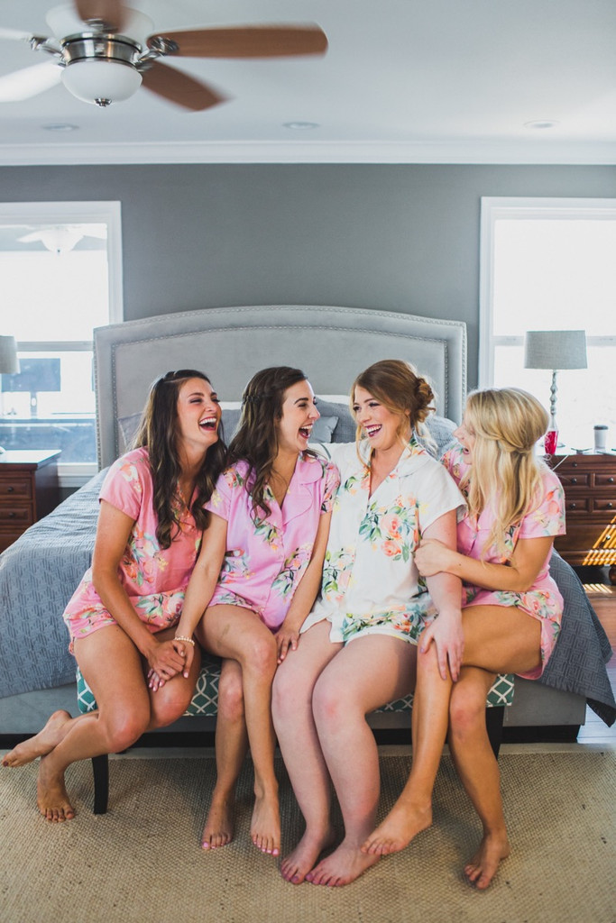 Shades of Pinks and Lilacs Notched Collar Style PJs in Dreamy Angel Song Pattern