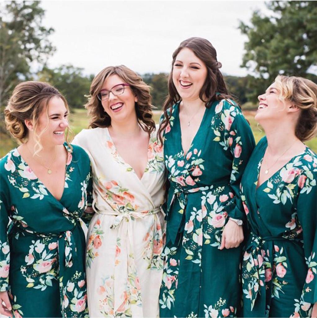 Dark Green Dreamy Angel Song Set of Bridesmaids Robes