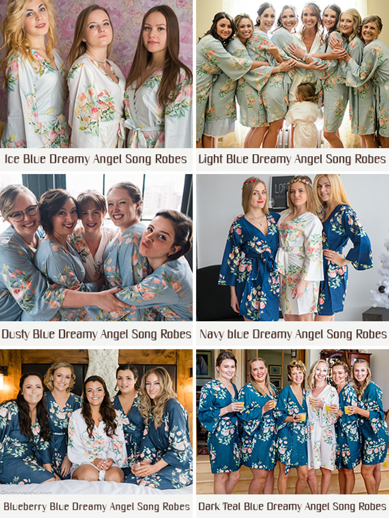 Light Blue Dreamy Angel Song Bridesmaids Robes Set