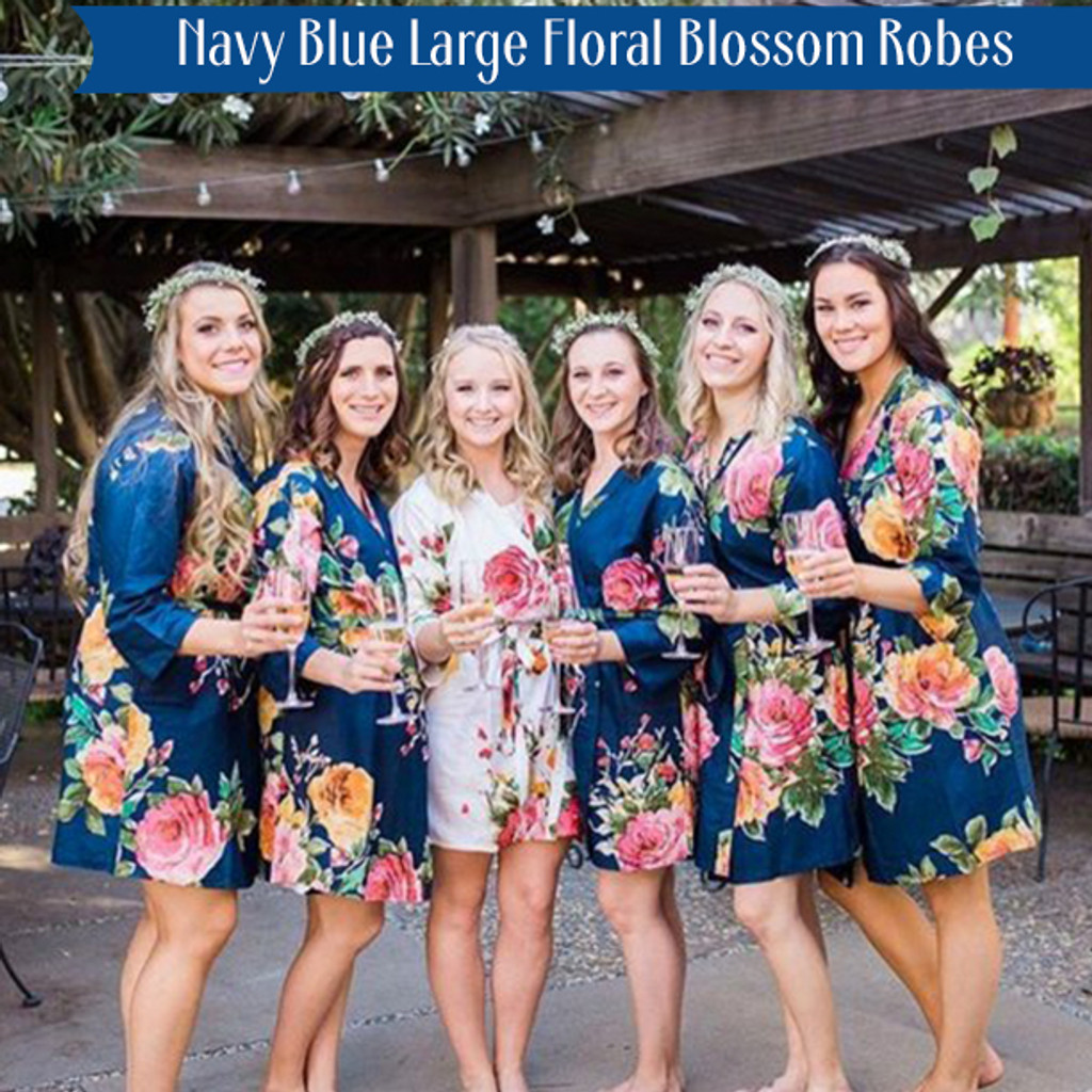 Navy Blue Large Floral Blossom Robes